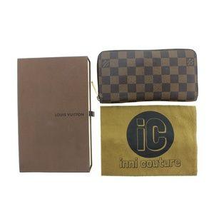 Louis Vuitton Brown Zippy Damier Ebene Lv N60015 L